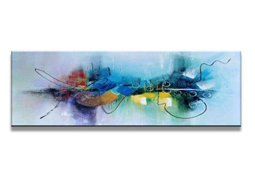 bestpricepictures 120 x 40 cm Bild auf Leinwand abstrakt blau 5723-SCT deutsche Marke und Lager - Die Bilder/das Wandbild/der Kunstdruck ist fertig gerahmt
