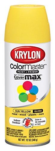 Krylon K05180607 ColorMaster Paint + Primer, Gloss, Sun Yellow, 12 oz.