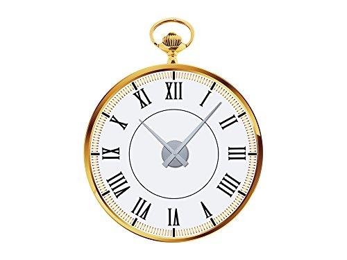 GRAZDesign 801084 Wandsticker klok met uurwerk wandklok woonkamer zakhorloge Romeinse cijfers Uhrwerk silber