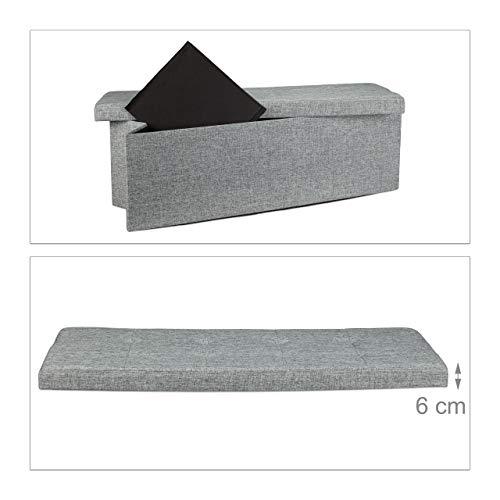 Relaxdays faltbare Sitztruhe XL 114x38x38cm, Leinen, grau - 5