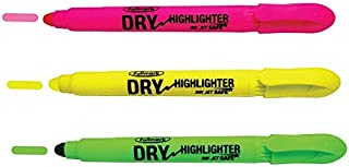 Fullmark Twist and Glide Bible Dry Highlighter, Non-bleed, Inkjet Safe, Neon Assorted Colors, Yellow, Green, Pink, 3-count kit,