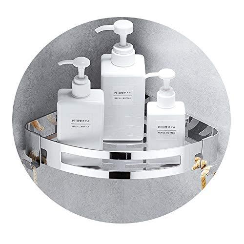 Kazeila Estante para baño, Perforaciones, estanteria para Ducha montado en la Pared, Pegamento Autoadhesivo, Acero Inoxidable 304 con 2 Ganchos para Colgar Accesorios de baño (triángulo)