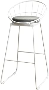 ZHJBD Furniture Stool High Stools Chair Wooden for Kitchen Office European Bar Stool Bar Chair Wrought Iron Back Creative Lounge Chair Simple Modern High Stool Kitchen High Bench  Size High45cm