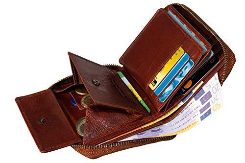 MATADOR® Granada Hochwertige Echt Leder Geldbörse Damen Portemonnaie Herren Geldbeutel Reissverschluss mit RFID Schutz & NFC Blocker in Vintage Braun