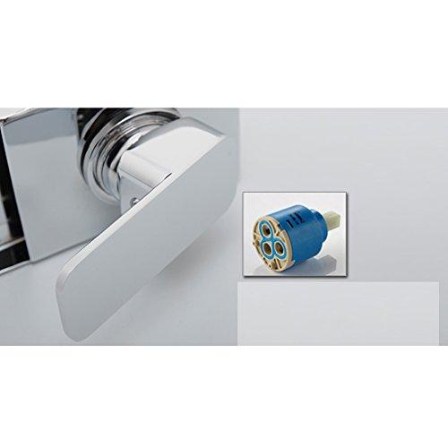 KINSE® Farbwechsel LED Verchromt Einhebelmischer Waschtischarmatur mit Temperatursensor Wasserhahn für Bad - 4