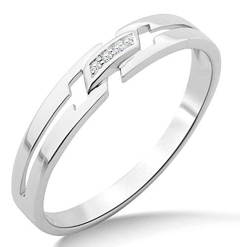 Miore Ring Damen Weißgold 9 Karat / 375 Gold Diamant Brillianten