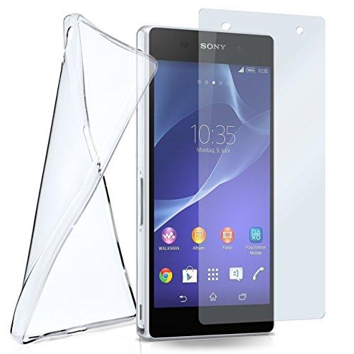 moex Silikon-Hülle für Sony Xperia Z2 | + Panzerglas Set [360 Grad] Glas Schutz-Folie mit Back-Cover Transparent Handy-Hülle Sony Xperia Z 2 Hülle Slim Schutzhülle Panzerfolie