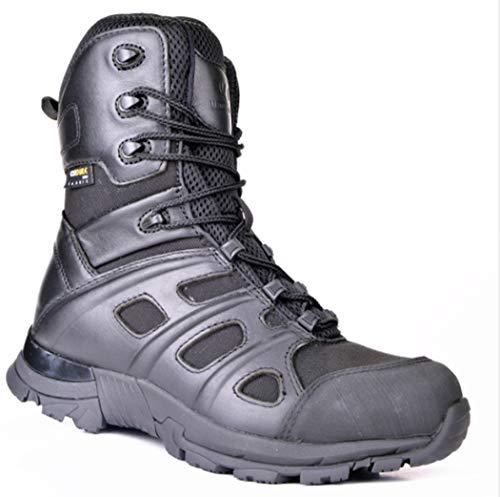 AZLLY Heren Tactische Laarzen Anti-Slip Anti-Piercing Industriële Laarzen Leer Geïsoleerde Zijrits Werk Laarzen Outdoor Wandelen Jacht Laarzen voor Alle Seizoenen