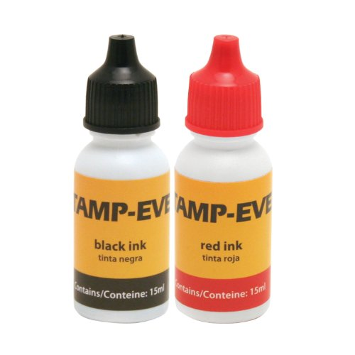 Stamp-Ever Refill Ink, 15ml Bottles of Ink, Black/Red 2-Pack (6196)