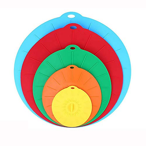 Silicone Suction Lids, Reusable Silicone Dustproof Heat-Resistant Cover, Fit Any Round Container Flat Rim, Great for Frying Pans Casseroles Woks - 5 Sizes