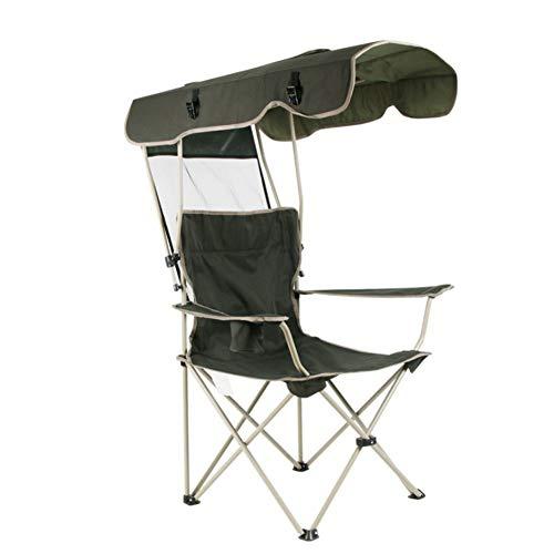 Outdoor opvouwbare campingstoel met schaduwluifel, zonwering Draagbare Heavy Duty campingstoelen met bekerhouder voor strandvistuin