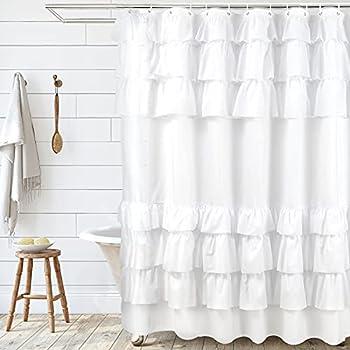 SARTNP White Ruffle Shower Curtain,Farmhouse Fabric Style Design Shower Curtain for Bathroom,Machine Washable - 72  x 72