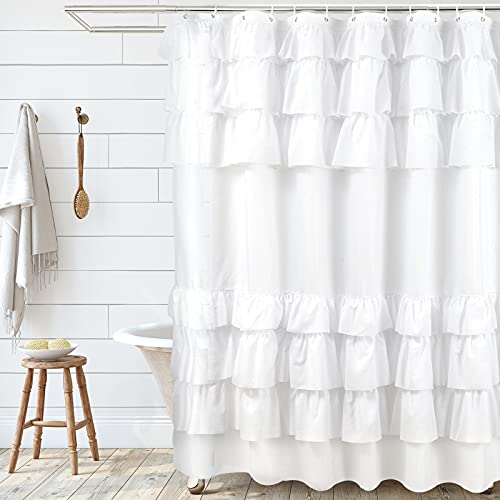 SARTNP White Shabby Chic Shower Curtain 72 x 72 with Farmhouse Ruffles and French Country Style - Modern Farmhouse Shower Curtain Fabric