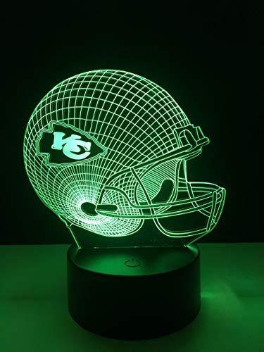 La lampe à économie d'énergie de la lumière de nuit/LED de Kansas City Chiefs 3D, 7 couleurs, éclairage de chevet de la table de nuit, décoration créative, idéale pour l'artisanat