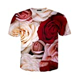 Fiore Rosa T Shirt Uomo Donna Giacinto Felpa 3D Stampa Manica Corta Hip Hop Streetwear Pullover 3 L