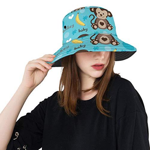 Sombrero de pesca para mujeres Cute Kids Monkey And Banana Summer Unisex Fishing Sun Top Sombreros de cubo para adolescentes Mujeres Fisherman Cap Deportes al aire libre Sombreros de sol para bebé