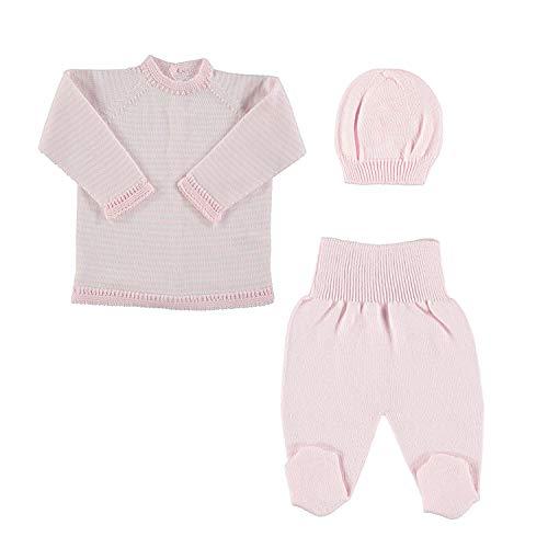 Petit Oh! - Conjunto de Punto para bebé de Jersey, Polaina y Gorro. 100% algodón (0-1 Meses (NB), Rosa + Gorro Rosa)