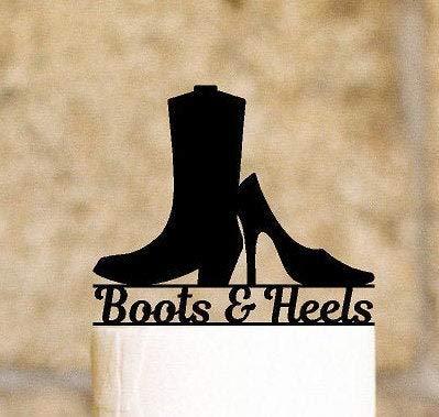 Cowboy laarzen en hoge hakken taart topper gepersonaliseerd met uw naam of zin