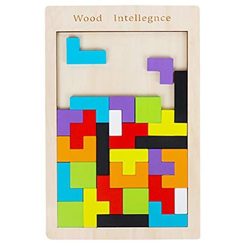 ruiyoupin Tetris houten tangram kinderen educatief spel kleurrijke houten puzzel geometrisch knobelspel vormen met doos, 1 stuks.
