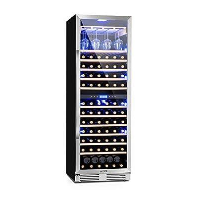 Klarstein Vinovilla Grande Duo - Large Capacity Wine Refrigerator, Beverage Fridge, Volume: 425 L, 165 Bottles, 12 Wooden Shelves, Touch Control, 2 Cooling Zone, Adjustable Temperature, Granite Grey from Klarstein