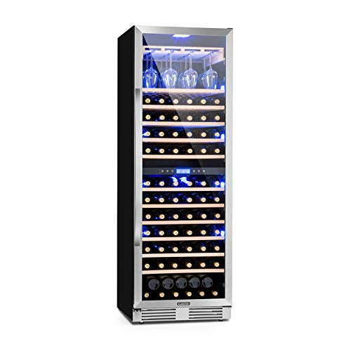 Klarstein Vinovilla Grande Duo - Large Capacity Wine Refrigerator, Beverage Fridge, Volume: 425 L, 165 Bottles, 12 Wooden Shelves, Touch Control, 2 Cooling Zone, Adjustable Temperature, Granite Grey