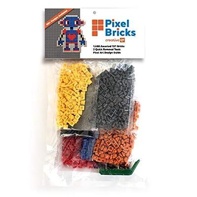 Creative QT Pixel Bricks Mosaic Art Kit - 1x1 Building Bricks - 1,600 Classic Bricks - Compatible with All Major Brands - Play Set Includes 2 Quick Removal Tools and Pixel Art Design Guide by Creative QT