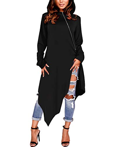 ZANZEA Damen Langarm Kapuzenpullover Asymmetrisch Hoodie Kleider Oversize Longshirts Schwarz X-Large