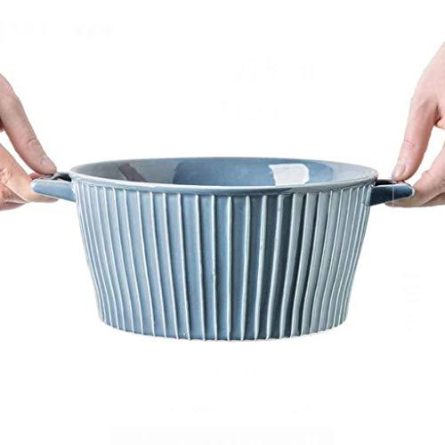 Home grote pols Bowls Vaatwerk Soep Bowl, Europese Dubbele Oor Keramische Capaciteit Salade Bowl Ramen Bowl Huishoudelijke Fruit Brood Bowl Voor Keuken Restaurant Servies Snack Bowl Dessert Bowl voor keuken rust 8.5inch Bluegray X1