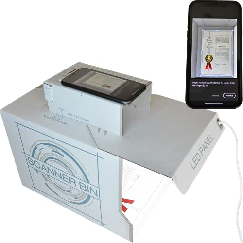 Scanner Bin - Smartphone scanning Stand for documents, Photographs and 3D Objects