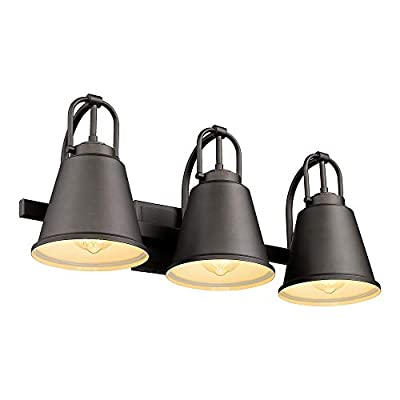 FEMILA Bathroom Vanity Lights, 3-Light Wall Sconce Farmhouse Indoor Vintage Wall Mount Lamp with Metal Shade, Oil Rubbed Bronze Finish, 4FH08-3W ORB