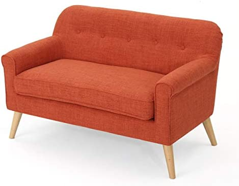 Best Christopher Knight Home Mariah Mid-Century Modern Loveseat, Muted Orange