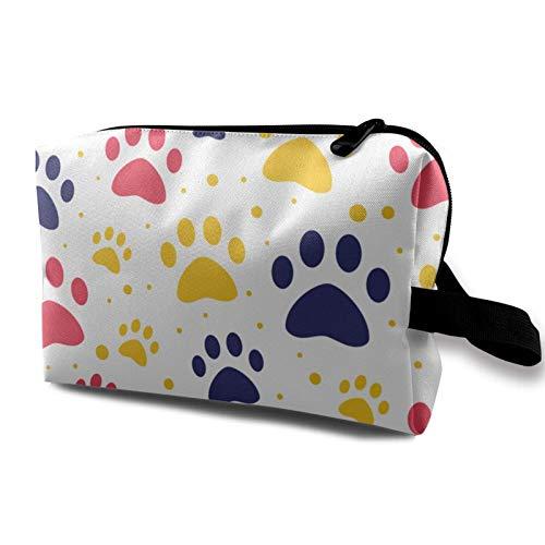 Bolsa de viaje para maquillaje – Bolsa de aseo portátil pequeña para cosméticos para mujeres y hombres – Patrón de patas de perro o de gato