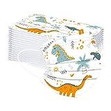 SilenceID 50 Piezas Niños Protección 3 Capas con Elástico, Impresión Linda del Dinosaurio de la Historieta para Viajes Escolares Diarios al Aire Libre-110312 (Multicolor 01)