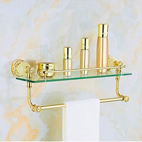 SLINGDA legering Europese badkamer houder, glazen houder voor cosmetica, handdoek rek, glazen plank dressoir (kleur: B)