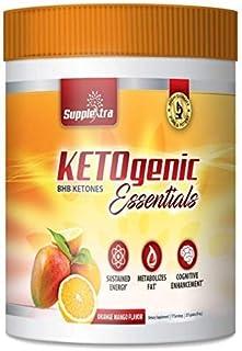 Ketogenic Essentials Exogenous Ketones Keto Powder Drink Mix- BHB Ketones - Zero Sugar, Zero Carbs, Zero Caffeine - Inch and Weight Loss - Orange Mango