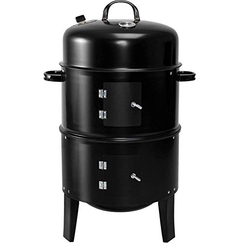WLHER Portable Charcoal Grill, Enamel Double-Layer Large Capacity Barbecue Grill, Vertical Household Charcoal Grill Smoker Fire Pit, Suitable for Outdoor Camping/Party/Picnic/Travel