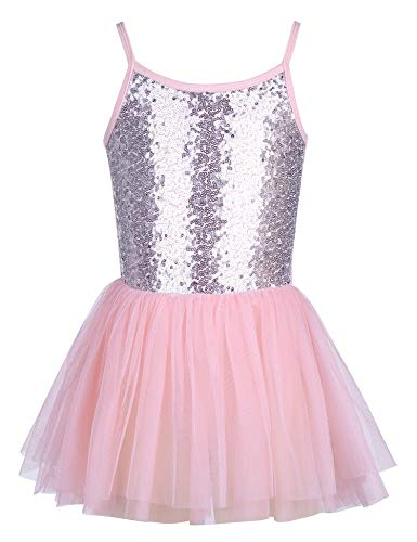 trudge Mädchen Kleid Ballettkleid Kinder Ballett Trikot Ballettanzug mit Tütü Röckchen Pailletten Ballett Kleid Türkis Shiny Sparkle Party Balletttrikot Tanzkleid Tanzbody, Rosa, 120 / 3-4 Jahre