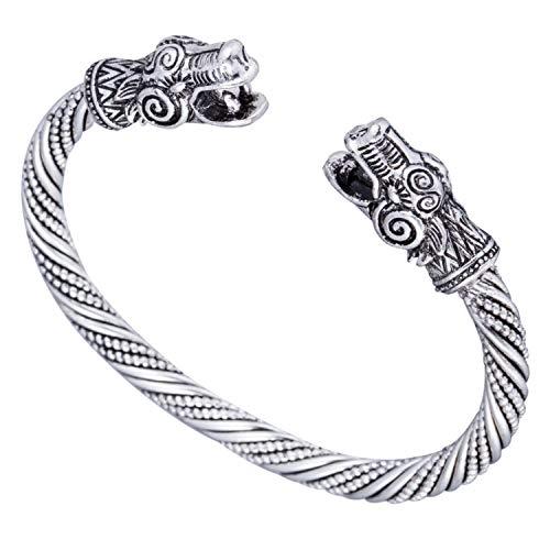 Myshape - Pulsera de plata envejecida del Dragon Viking & Pulsera Carter de amor pagano - Accesorios de joyería.