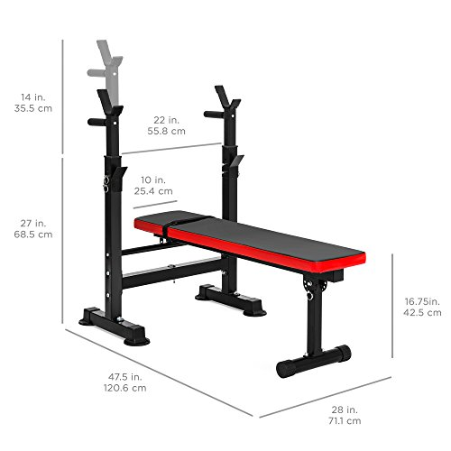 Best Choice Products Adjustable Folding Fitness Barbell Rack and Weight Bench for Home Gym, Strength Training