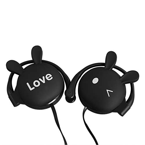 Cartoon Earphones 3D Animal Rabbit Earbuds,Cute Headphones Hands-Free Ear -Hook Style with Mic & Wired 3.5mm for Apple Samsung HTC Android Smartphones Tablets Headsets (Black)