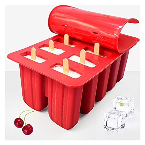 Moldes de paletas Postre Congele Cavity Silicone Popsicle Molde de helado, DIY Jugo de lollipop de bricolaje Bandeja de cubitos de hielo con tapa (Color : Red 10 holes)