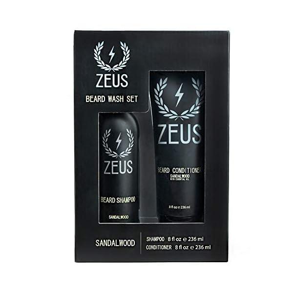 ZEUS Men's Beard Shampoo & Beard Conditioner Set – US MADE – Soften, Hydrates, & Moisturizes, Prevents Itching & Flaking… 1