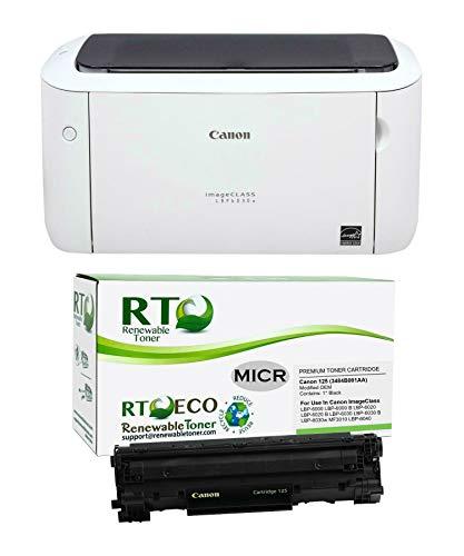 Renewable Toner ImageClass LBP6030W MICR Check Printer Bundle with 1 Canon 125 3484B001AA Modified OEM MICR Toner Cartridge (2 Items)