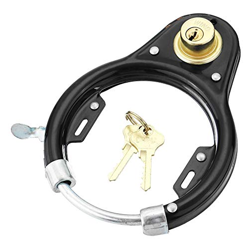 Vintage Fiets Lock, Wave Ring Frame Lock met Plug in Mogelijkheid, Anti Diefstal Hangslot Spiraal Kabelslot Fietswiel Motorfiets Beveiliging Sloten met Sleutel Fiets Accessoires (Zwart)