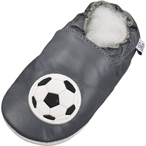 Lappade Fußball grau Jungen Fußballpuschen Lederpuschen Hausschuhe Krabbelschuhe Baby Lauflernschuhe mit Ledersohle (Art. 47 Gr. 21/22 EU)