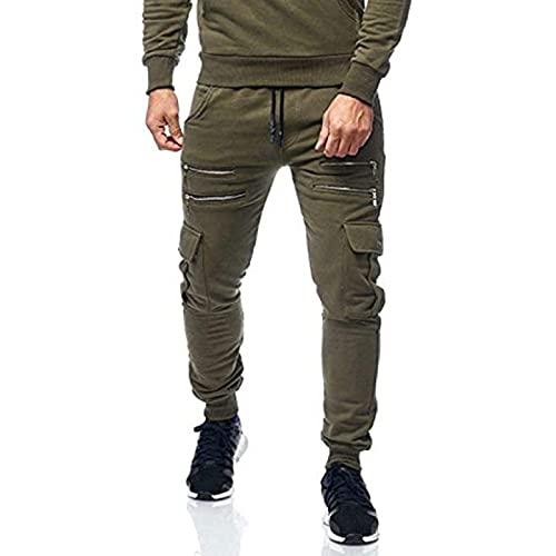 Pantalones de Jogging para Hombre Otoño e Invierno Simple Color sólido Cremallera Diseño multibolsillo Pantalones Deportivos Casuales Pantalones Casuales de Moda XL