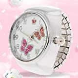 FXCO Frauen Fingerring Uhr Zifferblatt Quarz Analog Fingerring Uhr Schmetterling Elastisches Geschenk Kreative Stahl Ring Uhr