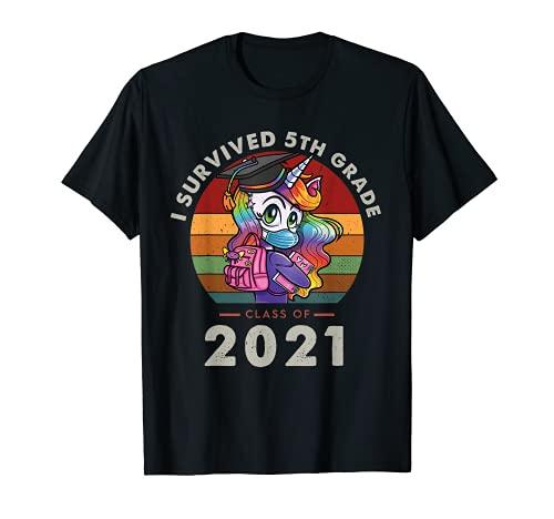 I Survived 5th Grade Class Of 2021 Graduation Retro Unicorn Camiseta