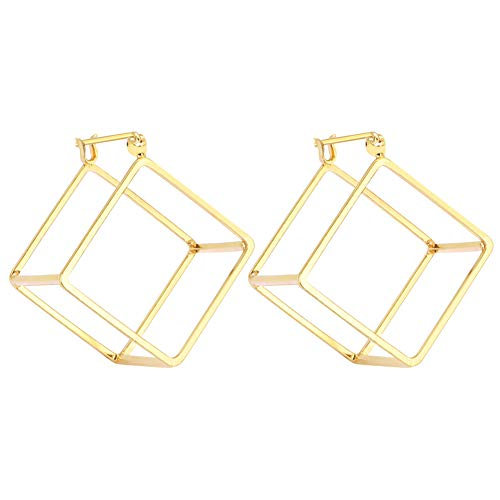 Rugewelry Geometric 3D Cube Square Triangle Earrings 18k Gold Plated Stud Earrings For Women,Girls Gifts