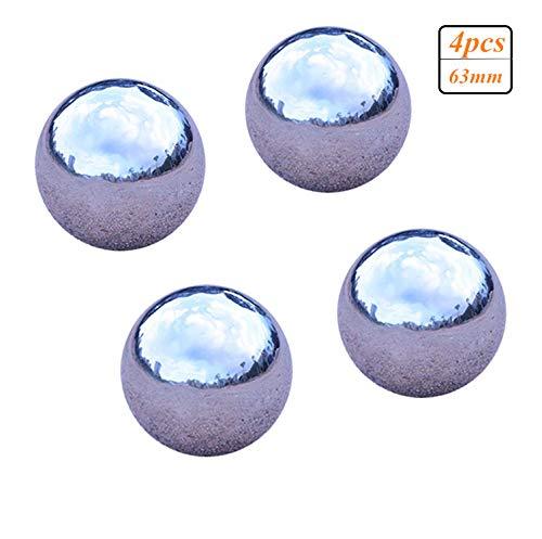 GDglobal Edelstahlkugeln Poliert Silber Gartenkugel Dekokugel 4 Stück, Durchmesser 19mm-80mm (63mm,4 Stück)